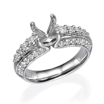 18K White Gold Layered Engagement Ring Mounting