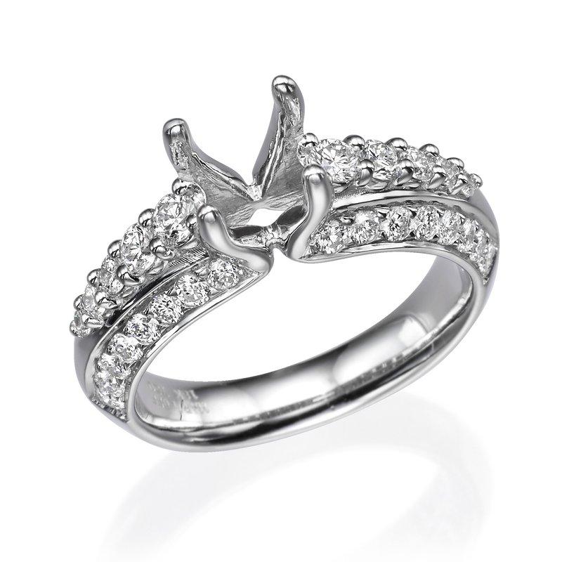 18K White Gold Layered Engagement Ring Mounting