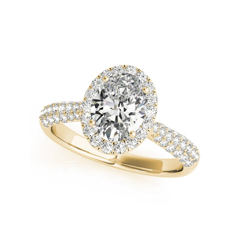 Pave Oval Halo Diamond Engagement Ring Mounting