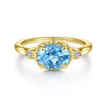 14K Yellow Gold Blue Topaz Fashion ring
