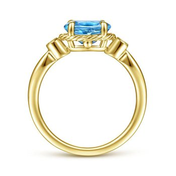 14K Yellow Gold Blue Topaz Fashion ring