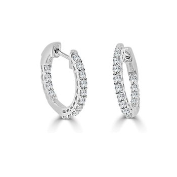 14K Gold & Diamond Hoop Earrings