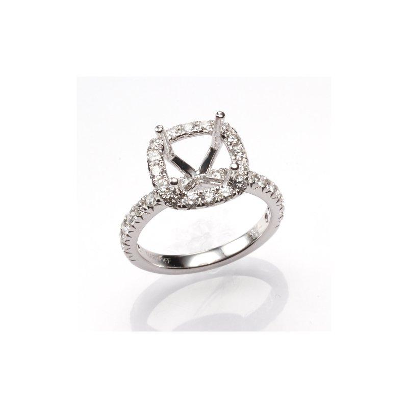 18K White Gold Halo Diamond Engagement Ring Mounting