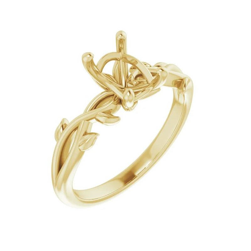 14K Yellow Gold Floral Mounting