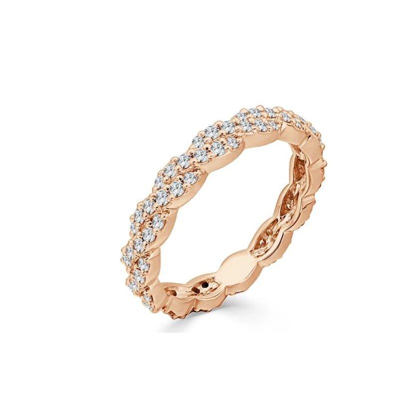 14K Rose Gold Twisted Diamond Wedding Band