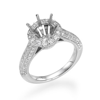 18K White Gold Halo Milgrain Engagement Ring Mounting