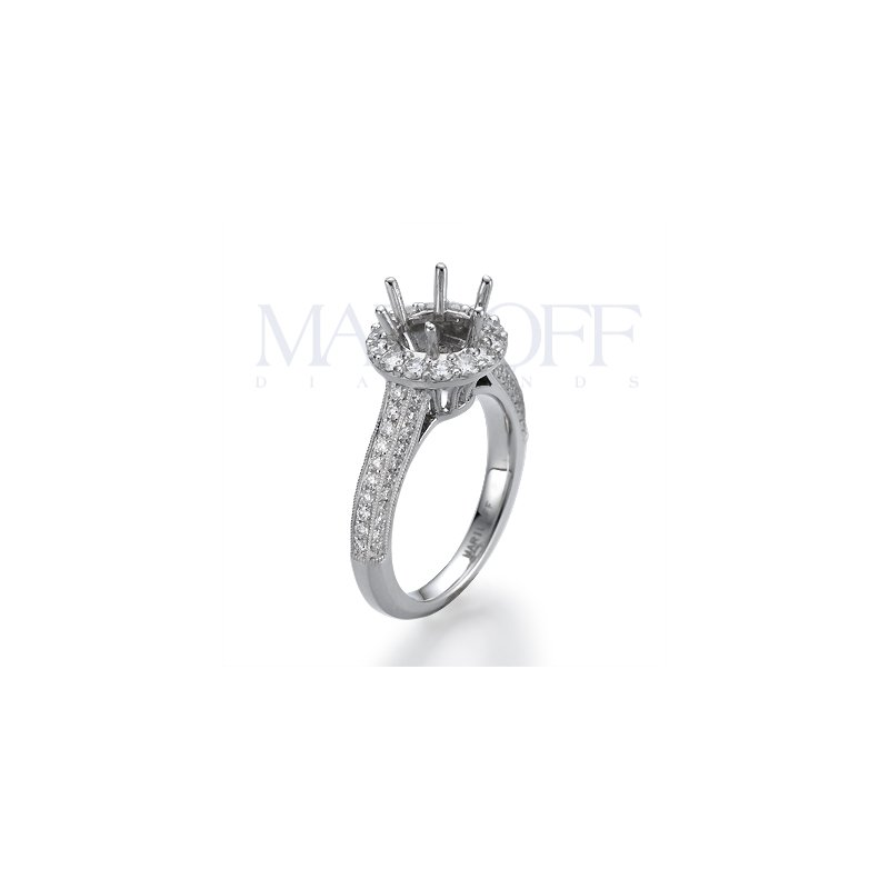 18K White Gold Halo Milgrain Engagement Ring Mounting