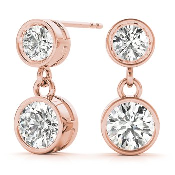 Bezel Dangle Round Diamond Earrings