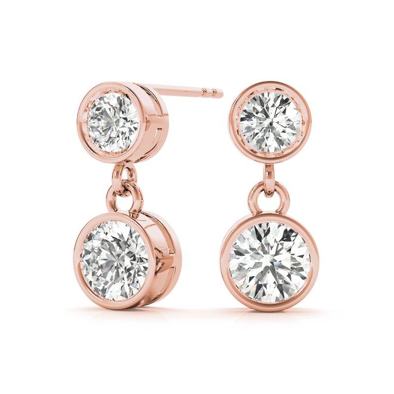 Bezel Dangle Round Diamond Earrings