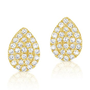 14K Gold Diamond Pave Pear Studs