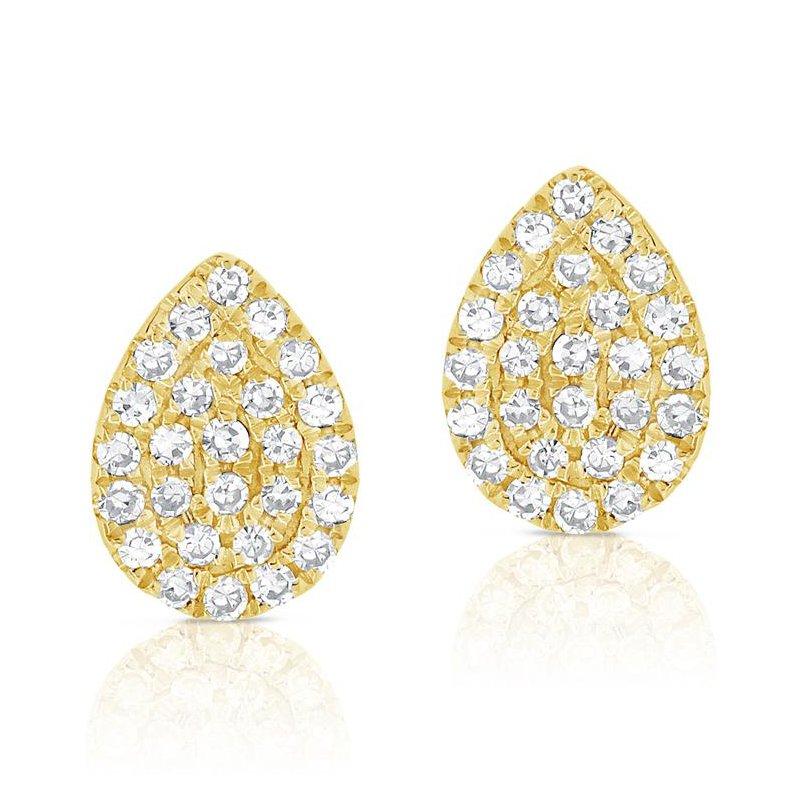 14K Gold Diamond Pave Pear Studs