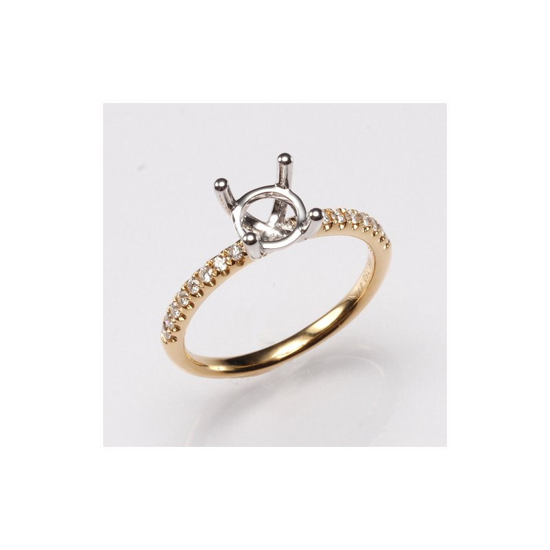 18K Yellow Gold .16Ctw Diamond Mounting