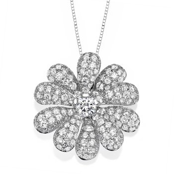 18K White Gold Flower Pendant