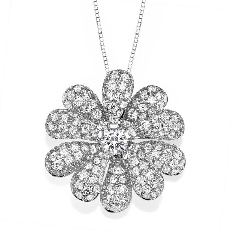18K White Gold Flower Pendant