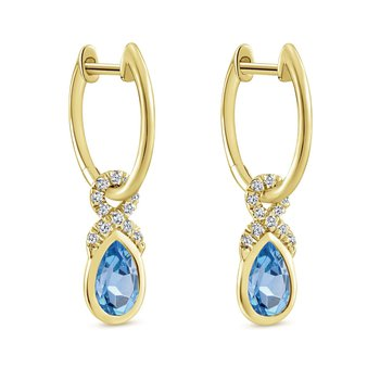 14K Yellow Gold Blue Topaz Dangle Earrings