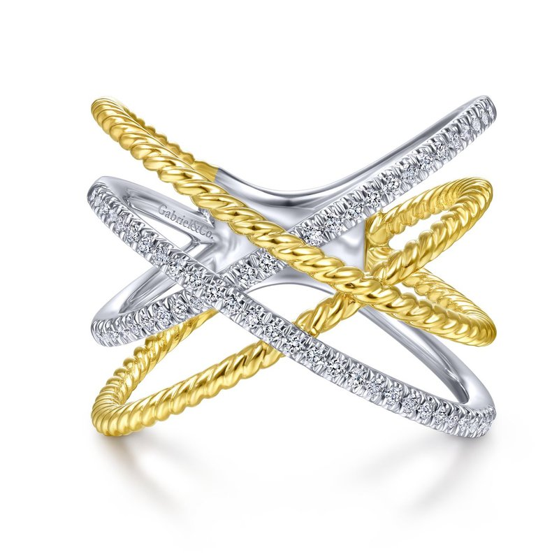 14K White And Yellow Criss Cross Diamond Fashion Ring