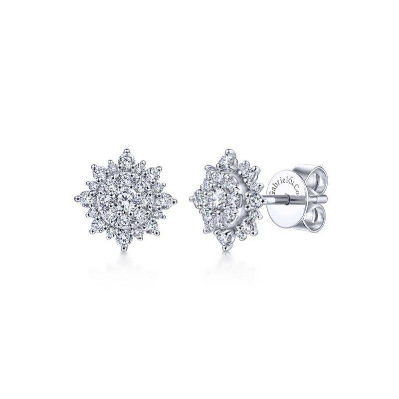 14K White Gold Diamond Star Studs