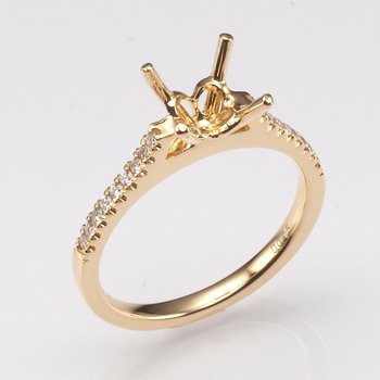 18K Yellow Gold .15Ctw Diamond Mounting