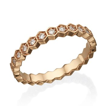 14K Rose Gold Modern Diamond Wedding Band