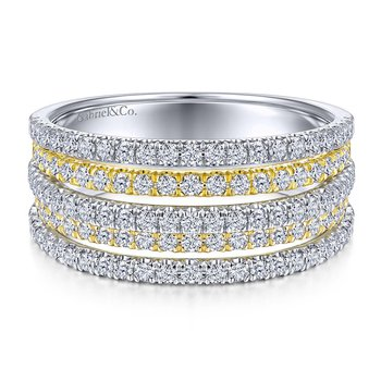 14K White And Yellow Multiple Diamond Band