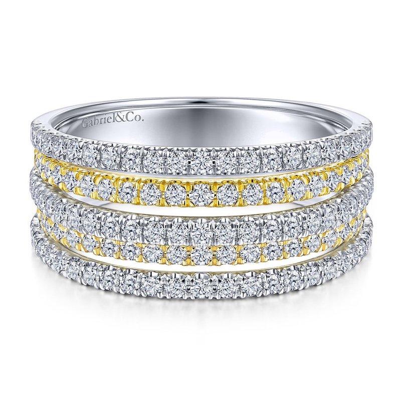 14K White And Yellow Multiple Diamond Band