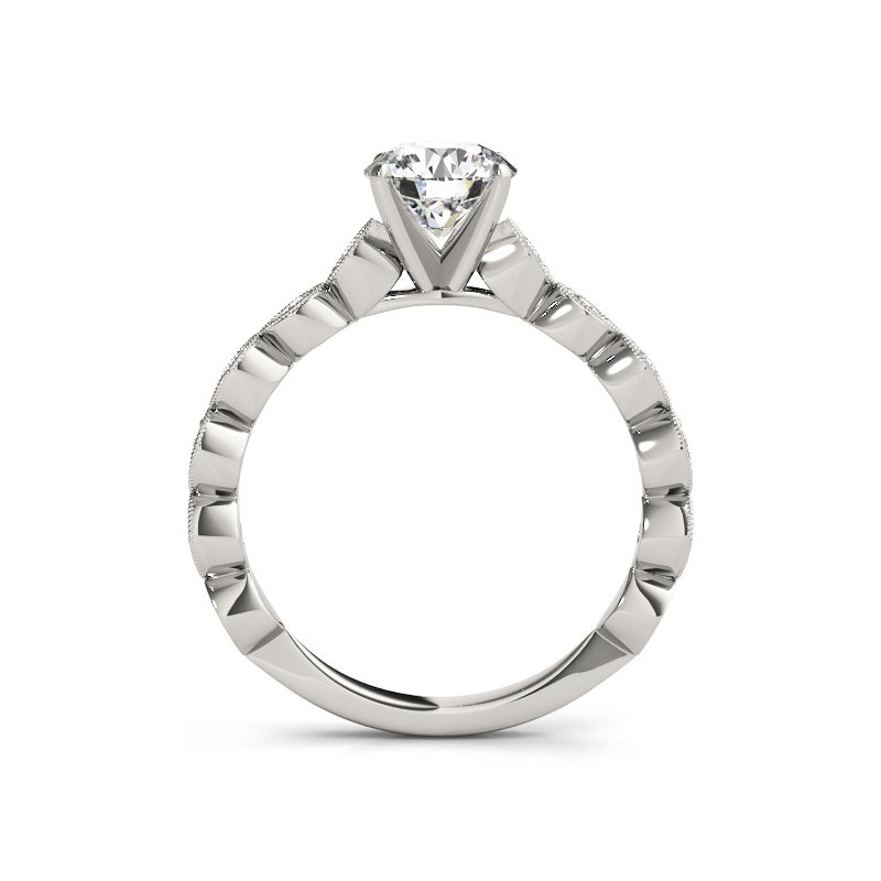 Milgrain Accent Diamond Engagement Ring Mounting
