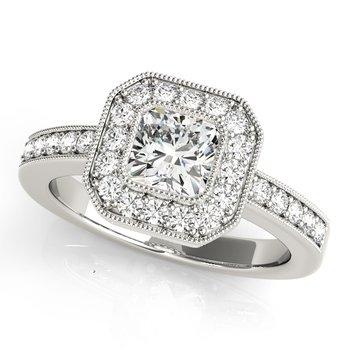 Vintage Cushion Engagement Ring Mounting