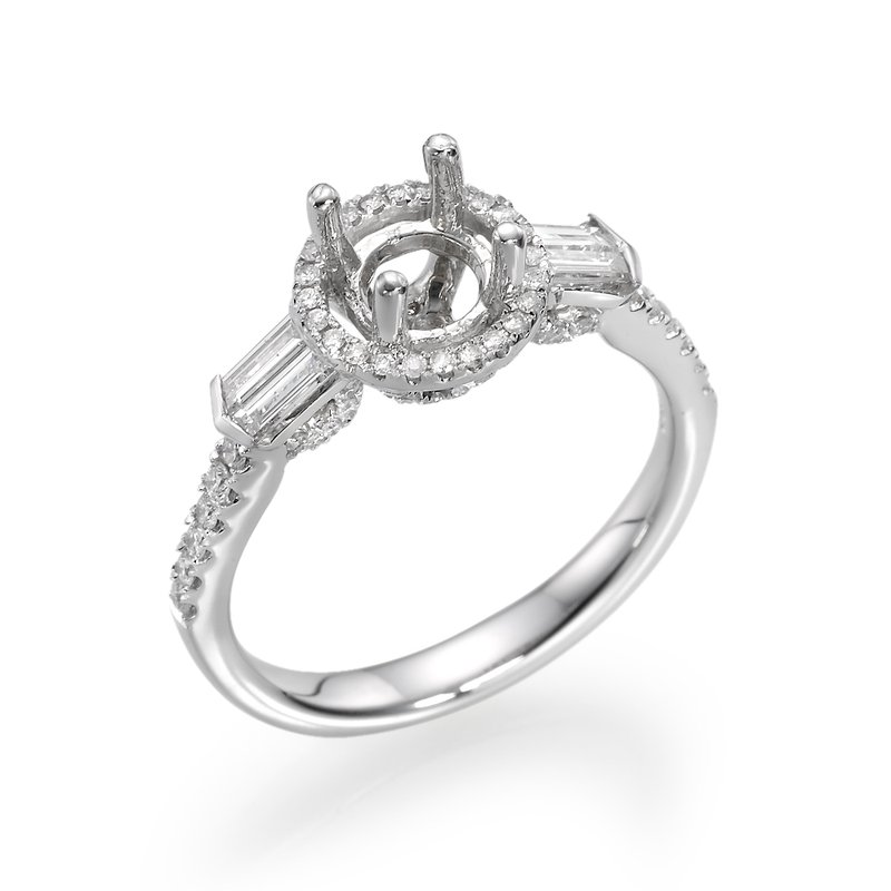 Side Baguette And Round Diamond Halo Engagement Ring Mounting