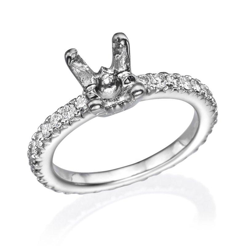 14K White Gold Classic Diamond Band Engagement Ring Mounting
