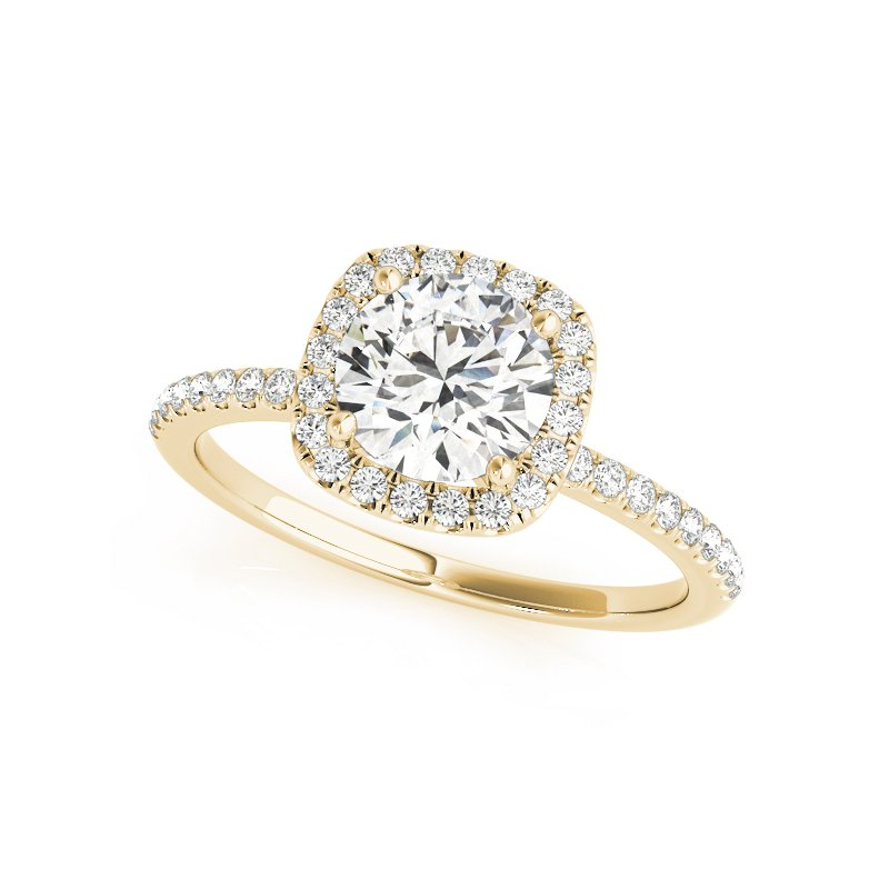Delicate Cushion Halo Engagement Ring