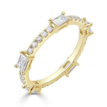 18K Gold Baguette Diamond Eternity Band