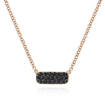 14K Rose Gold Black Diamond Geometric Pendant