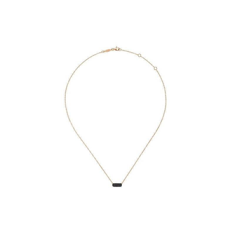 14K Rose Gold Black Diamond Geometric Pendant