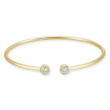 18K Gold Bangle Diamond Accent Bracelet