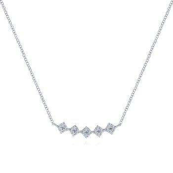 14K White Gold Diamond Geometric Bar Necklace