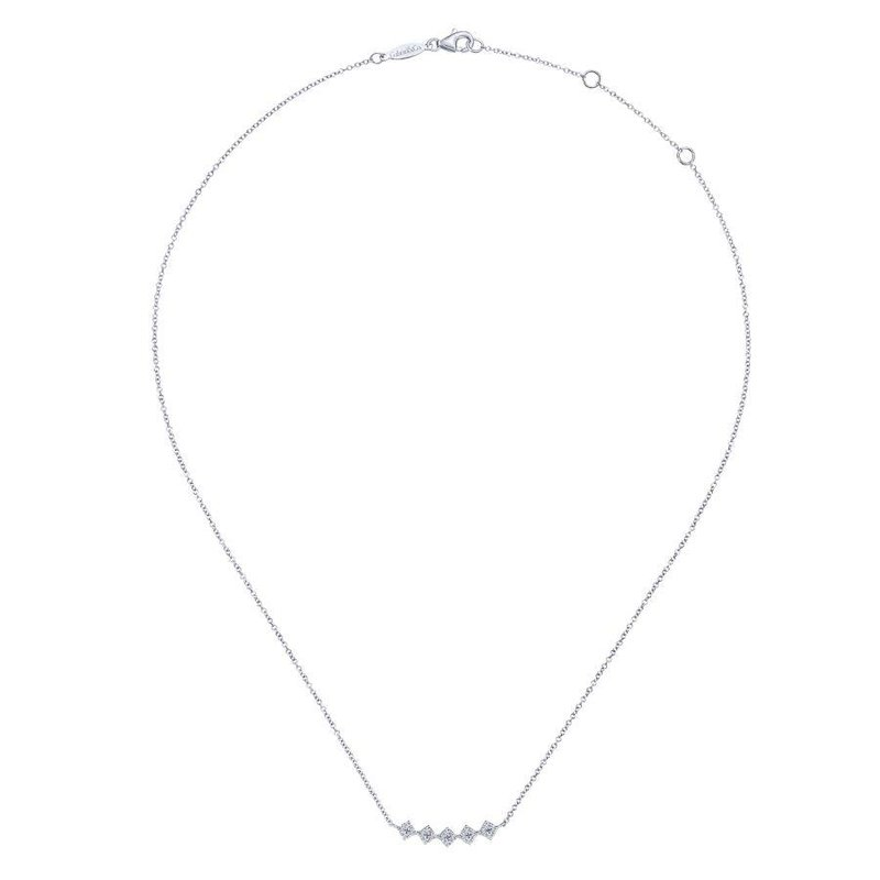 14K White Gold Diamond Geometric Bar Necklace