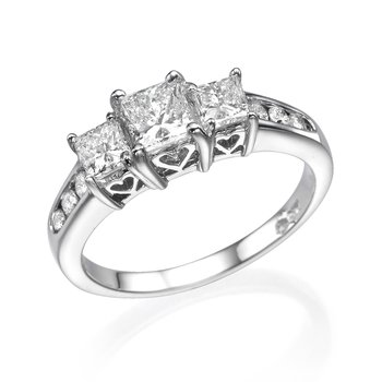 14K White Gold Classic Princess Cut Three-Stone Engagement Ring