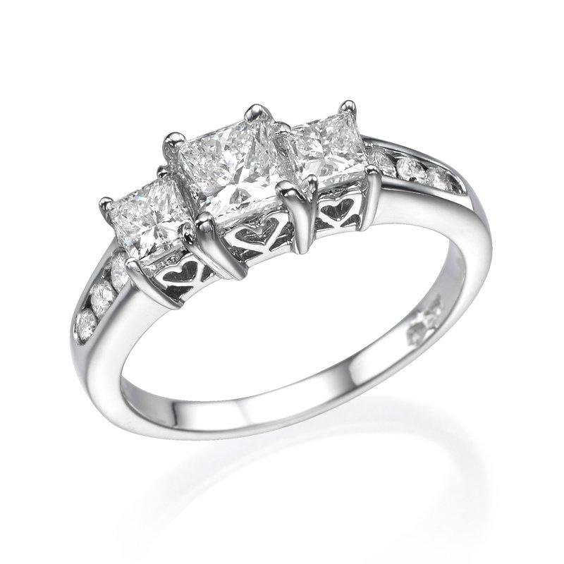 14K White Gold Classic Princess Cut Three-Stone Engagement Ring