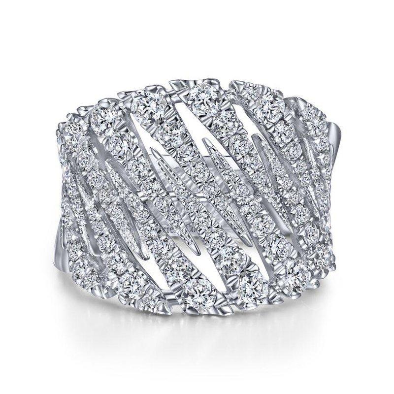 14K White Gold Wide Diamond Fashion Band