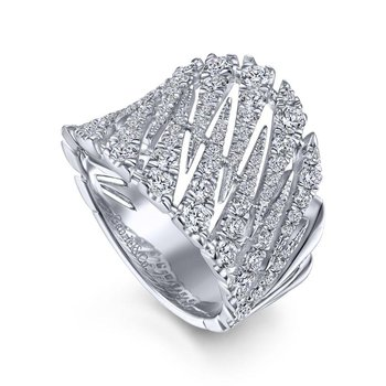14K White Gold Wide Diamond Fashion Band