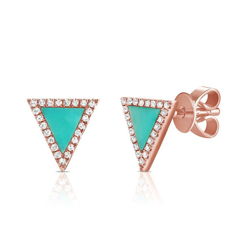 14K Gold Triangle Diamond And Turquoise Earrings