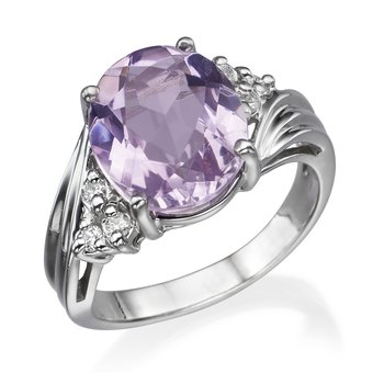 14K White Gold Kunzite Fashion ring