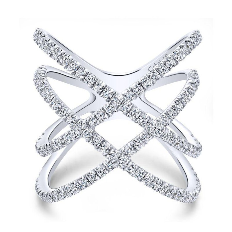 14K White Gold Criss Cross Diamond Fashion Ring
