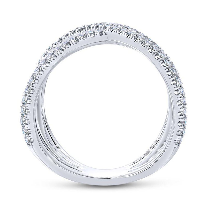 14K White Gold Criss Cross Diamond Fashion Ring