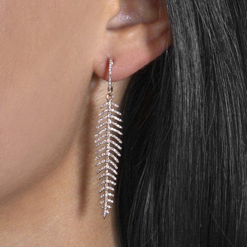 14K Feather Diamond Earrings