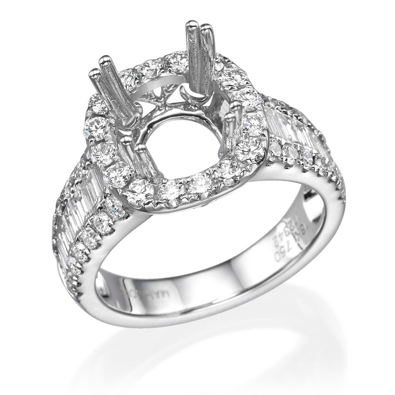 18K White Gold Round And Baguette Detailed Diamond Mounting