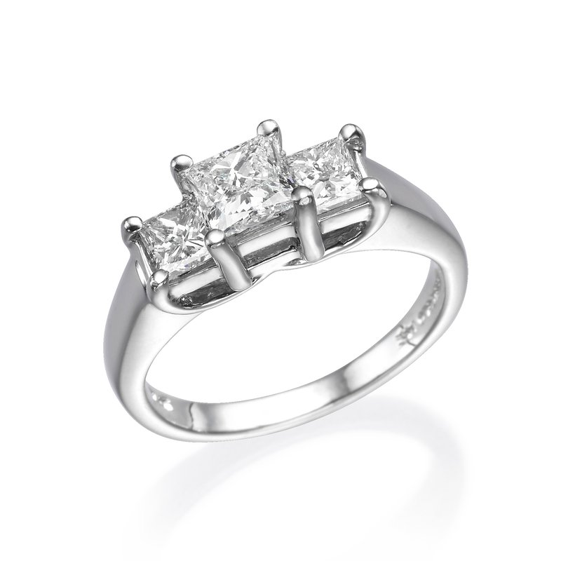 14K White Gold Three-Stone Princess Engagement Ring