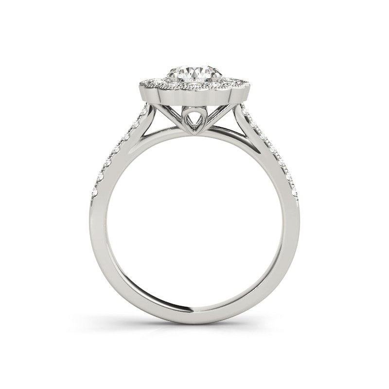 Floral Vintage Inspired Round Diamond Engagement Ring Mounting