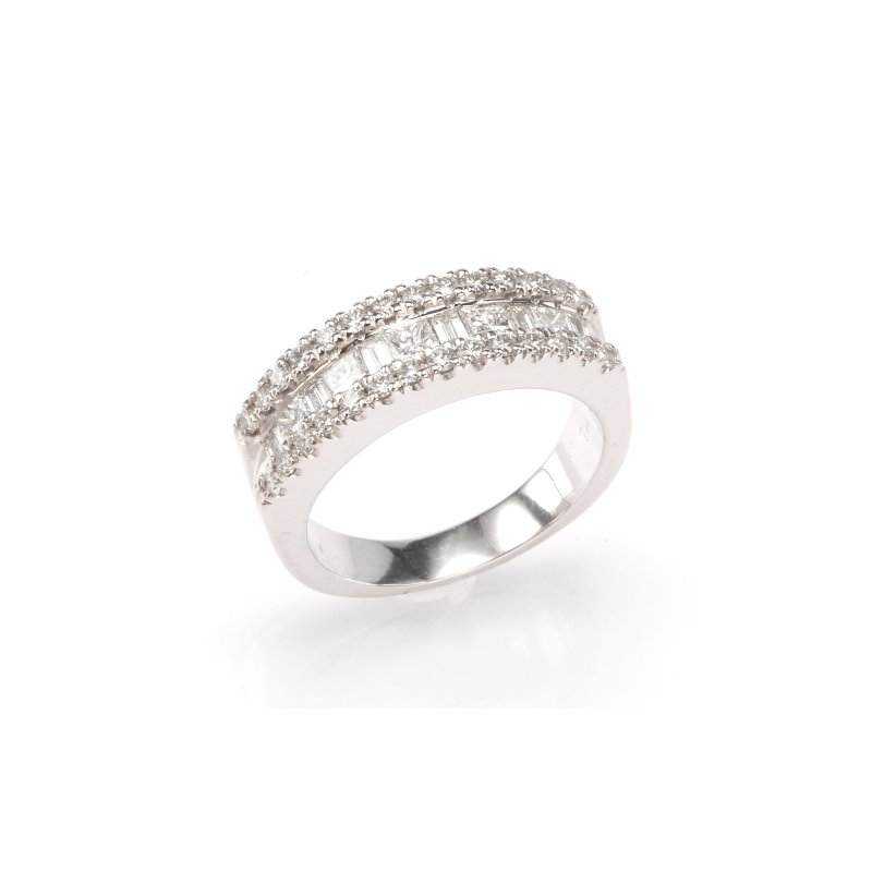 14K White Gold 1.30 Ctw Baguette Fashion Ring