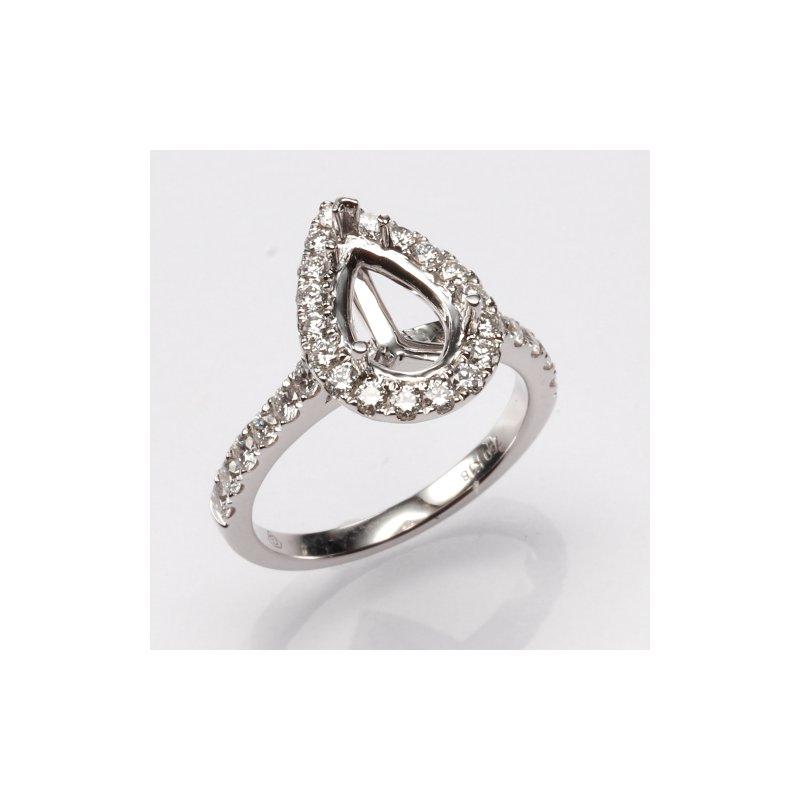 18K White Gold Pear Shaped Halo Diamond Mounting